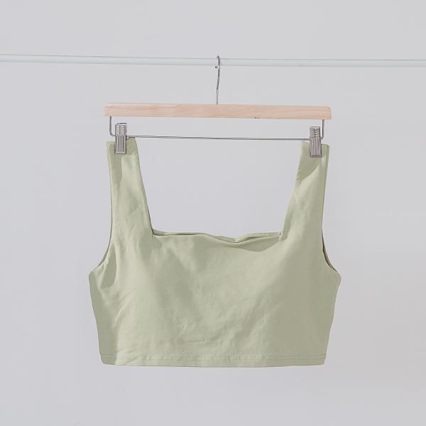 舒適簡約寬肩帶BRA TOP|芥綠